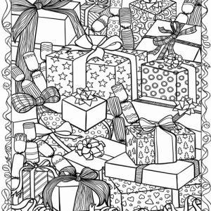Раскраска для взрослых новогодние подарки 2020