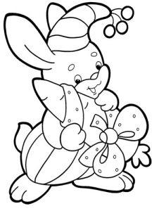 Раскраска для малышей на 2020 год - зайчик