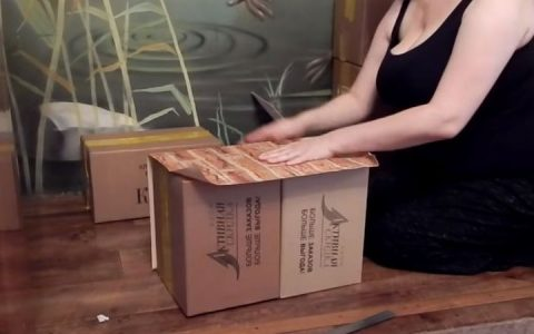 Камин из картонных коробок пошаговая инструкция шаг 4