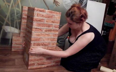 Камин из картонных коробок пошаговая инструкция шаг 5