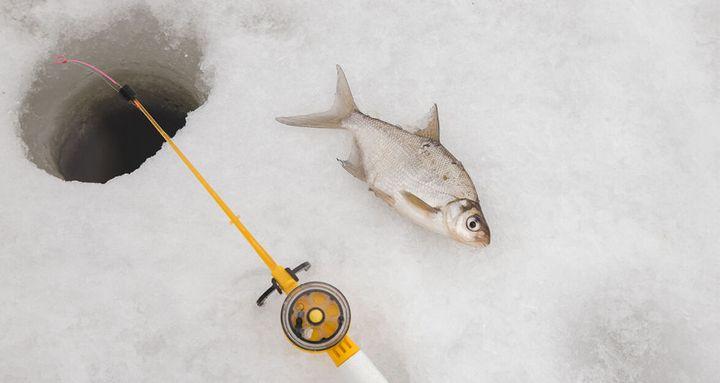 Лунка в проруби и рыба