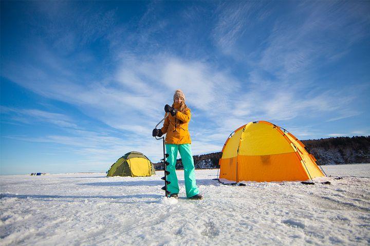 Зимняя рыбалка с палаткой