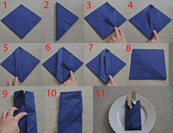 Как сложить салфетку к новогоднему столу