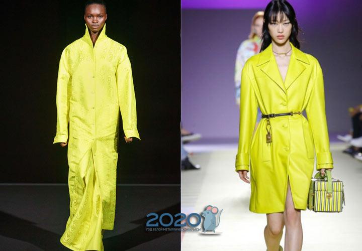Модные неоновые пальто осень-зима 2019-2020