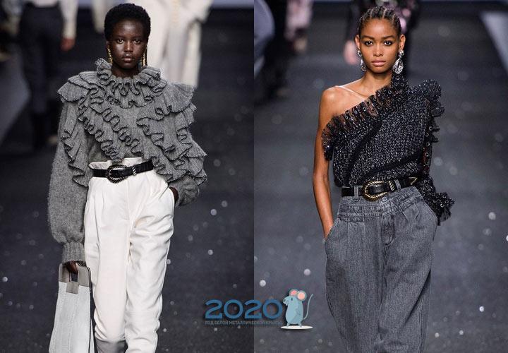 Свитера с рюшами мода зимы 2019-2020