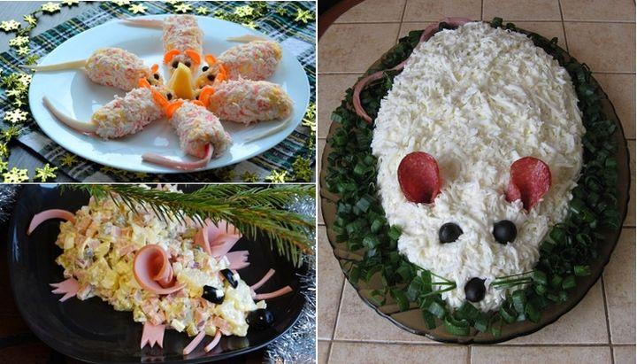 Рецепт «Мышка» с кальмаром и плавленым сырком