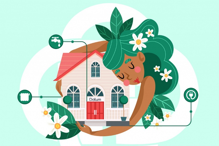 девушка обнимает дом