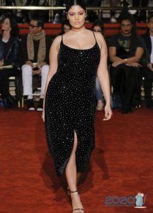 Блестящее черное платье plus size 2019-2020 года