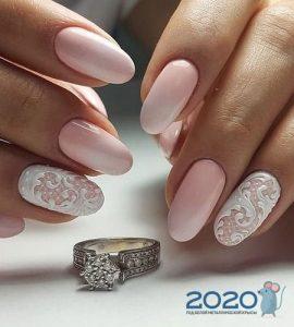 Нежный свадебный френч с росписью осень-зима 2019-2020