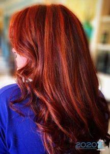 Модное мелирование 2020 на рыжие волосы
