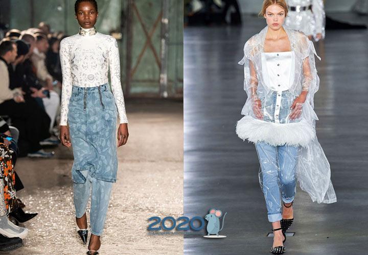 Джинсовая мода сезона осень-зима 2019-2020 многослойность образа