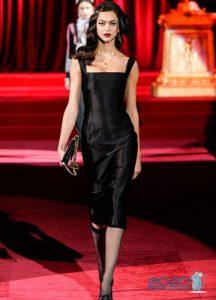 Черное платье Dolce & Gabbana осень-зима 2019-2020