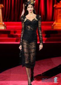 Прозрачное черное платье Dolce & Gabbana осень-зима 2019-2020