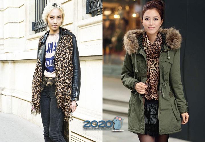 Леопардовый принт - модные шарфы 2020 года