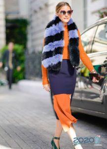Меховой шарф - мода 2020 года