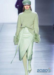 Салатовая юбка осень-зима 2019-2020