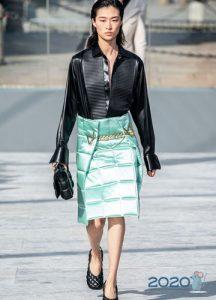 Осень-зима 2019-2020 салатовая стеганая юбка