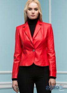 Красный кожаный жакет осень-зима 2019-2020