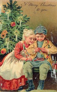 С Рождеством открытка в ретро стиле