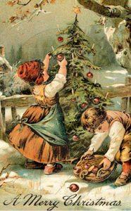 С Рождеством открытка в старинном стиле
