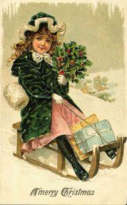 Старинная рождественская открытка в стиле ретро