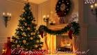 Рождественская открытка с елью и камином
