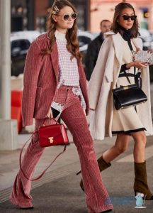 Уличная мода женский костюм зима 2019-2020