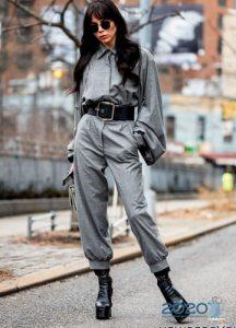 Кожаный комбинезон уличная мода 2019-2020 года