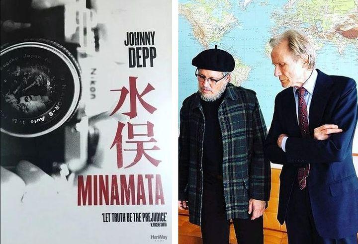 Джонни Депп и Билл Найи на съемках фильма Минамата