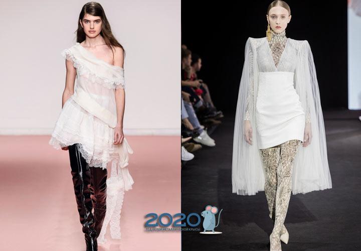 Модное белое платье осень-зима 2019-2020