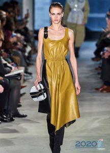 Кожаное платье Proenza Schouler осень-зима 2019-2020