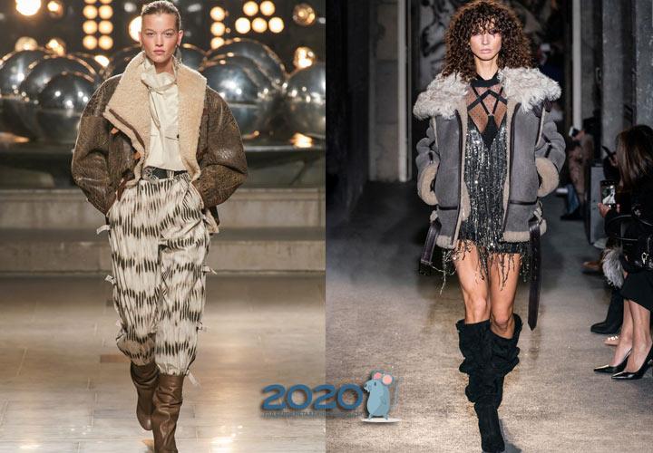 Дубленки в стиле куртки пилота мода зимы 2019-2020