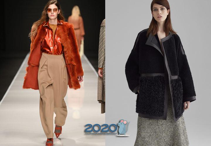 Дубленки с мехом наружу мода 2020 года