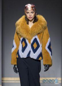 Модная меховая куртка с рисунком зима 2019-2020