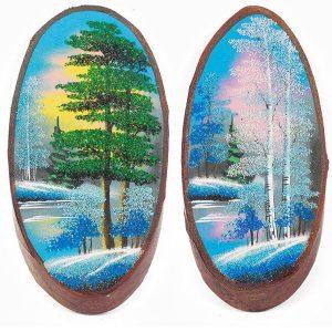 Рисунки маслом на дереве
