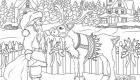 Санта и олень - новогодняя раскраска