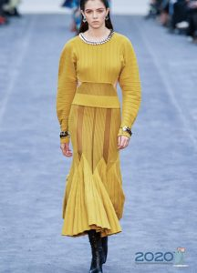 Длинное трикотажное платье Roberto Cavalli осень-зима 2019-2020