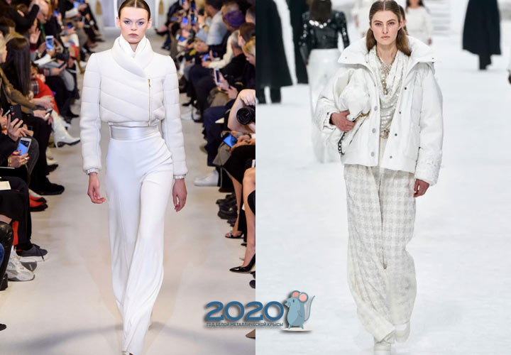 Короткий белый пуховик осень-зима 2019-2020