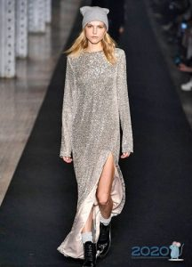 Блестящее платье металлик осень-зима 2019-2020