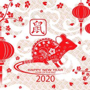 Мини-открытка на 2020 год с крысой