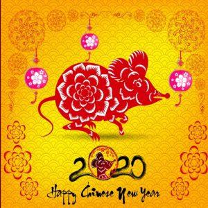 красивая мини-открытка на новый 2020 год крысы