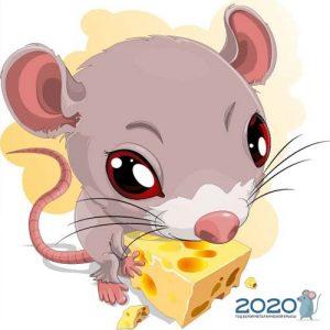 Мини-картинка с милой крыской на 2020 год