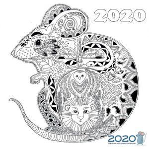 Новогодняя крыска - раскраска на 2020 год