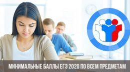 Минимальные баллы ЕГЭ 2020 по всем предметам