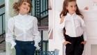 Белая блузка для девочки  - школьная мода 2020 года