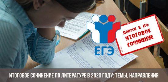 Итоговое сочинение по литературе в 2020 году: темы, направления