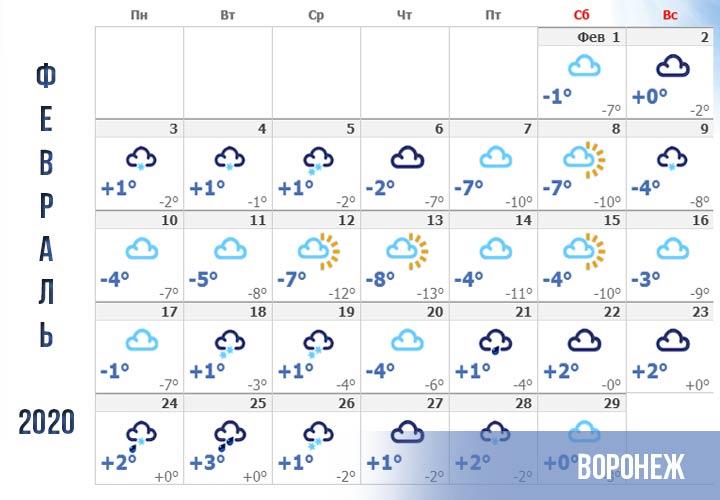 Погода в Воронеже прогноз на февраль 2020 года