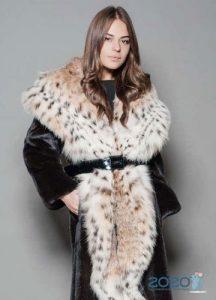 Норковая шуба с воротником из рыси - мода 2020 года
