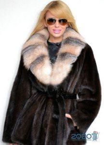 Норковая шуба с воротником из лисы - мода 2020 года