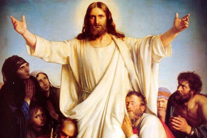 икона с Иисуса и верующими